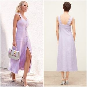 Zara lilac tweed midi bloggers fave dress